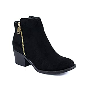 Reneeze PAMA-01 Womens Fashionable Stacked Heels Ankle Booties - BLACK-6