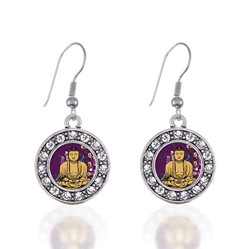 Inspired Silver - Buddha And Cherry Blossoms Charm Earrings for Women - Silver Circle Charm French Hook Drop Earrings with Cubic Zirconia ()