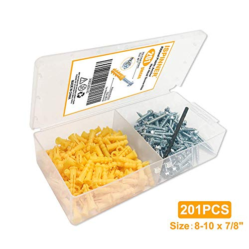 ISPINNER 201pcs Ribbed Plastic Drywall Anchor Kit with Screws and Masonry Drill Bit, Yellow, 8-10 x 7/8