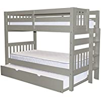 Bedz King Bunk Beds Twin over Twin Mission Style with End Ladder and a Twin Trundle, Gray