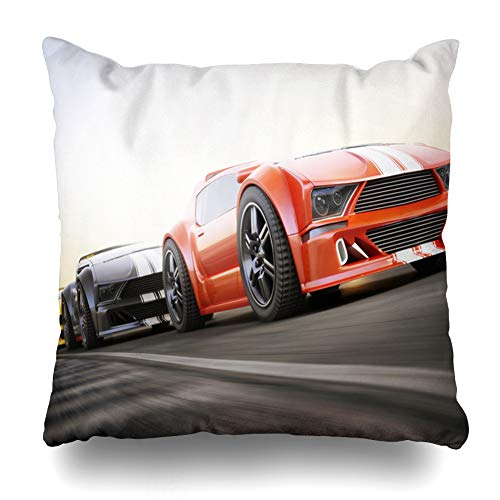 Ahawoso Decorative Throw Pillow Cover Competition Red Track Race Exotic Sports Cars Racing Expensive Motion Recreation Sportscar Street Home Decor Pillowcase Square Size 16