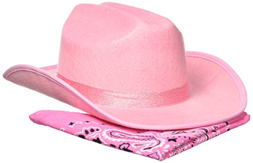 Aeromax Junior Cowboy Hat with Bandanna, Pink (Cowgirl Accessories)