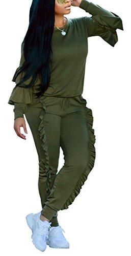 Belted Two Piece (Kearia Women Tracksuit Ruffle Puff Sleeve 2 Piece Outfits Long Flounced Pants Sweatsuit Set Green Medium)