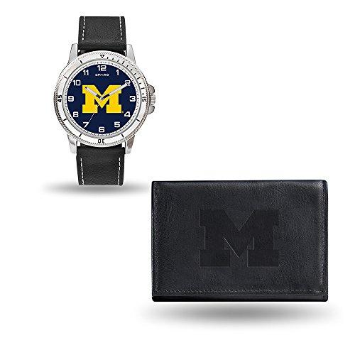 NCAA Michigan Wolverines Men's Watch and Wallet Set, Black, 7.5 x 4.25 x 2.75-Inch - Michigan Wolverines Sport Steel Watch
