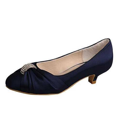Wedopus MW933 Women's Closed Toe Satin Party Evening Pumps Low Heel Wedding Bridal Shoes Size 8 Navy