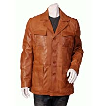 Mens Real Leather Safari Jacket Fitted Reefer Blazer Designer Coat - Chris Tan