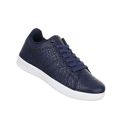 Damen Schlangenoptik Freizeitschuhe Blau Sneaker Schnürer Schuhe fwfOqrY