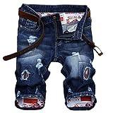 Lavnis Men's Moto Biker Jeans Shorts Ripped Distressed Denim Shorts with Broken Hole (34, Style 4-Blue)