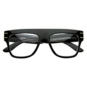 zeroUV - Vintage European Designer Inspired Flat Top Horn Rimmed Clear Lens Glasses (Black)