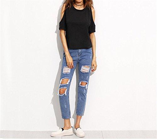 Da Con Moda A Pantaloni Bottoni Skinny Vita Ginocchio Donna Media Strappati Blu Denim Alla Al Profitd In Jeans Oxfgzz