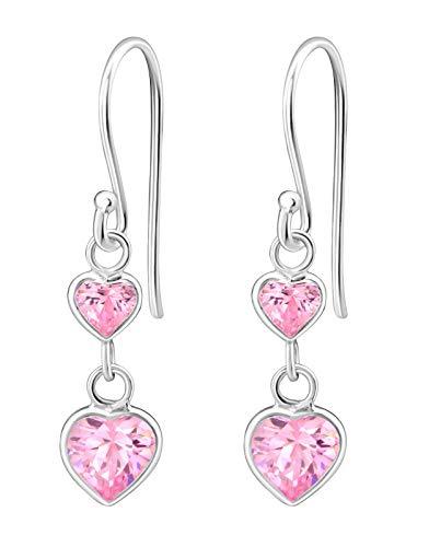 Hypoallergenic Sterling Silver Double Heart CZ Dangle Earrings for Kids (Pink)