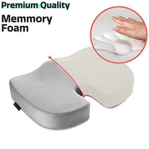 ZIRAKI Coccyx Orthopedic Memory Foam Chair Seat Cushion Pillow - Back Pain Relief and Sciatica and Tailbone Pain -Quality Comfort Ideal Gift for Home Office Chair and Car Driver Seat Support (Grey) ()