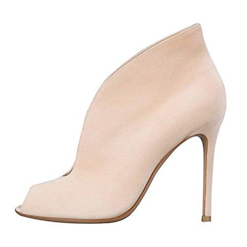 aiweiyi–Botas para mujer Peep Toe bombas de tacón de aguja Slim Stiletto zapatos botas de tobillo para Casual Beige