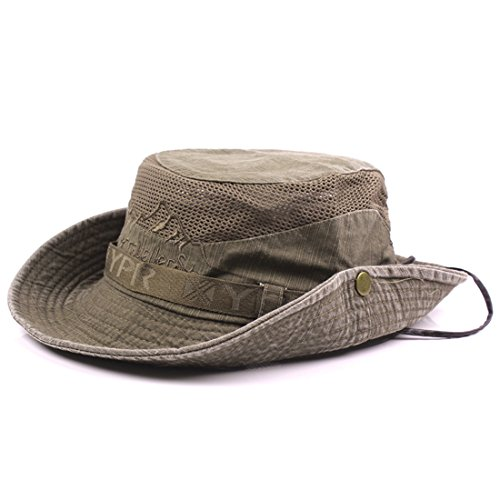 Thenice Unisex Cotton Sun Cap Outdoor Bucket Mesh Boonie Hat (S01-Coffee)
