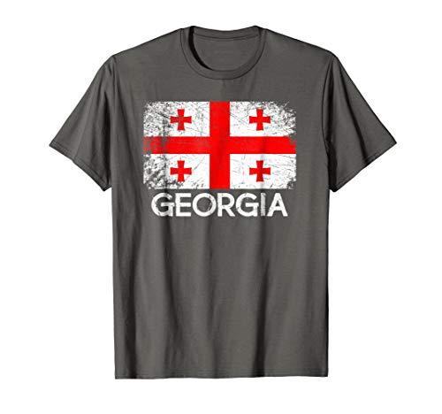 Flag Georgia Stickers (Georgian Flag T-Shirt | Vintage Made In Georgia Gift)