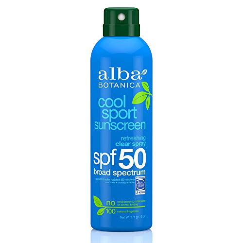 Alba Botanica Cool Sport Refreshing Clear Spray SPF 50 Sunscreen, 6 oz. (Best Non Toxic Sunscreen)