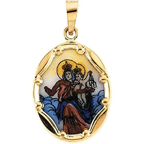 Bonyak Jewelry 14k Yellow Gold 17x13.5 mm Porcelain Scapular Pendant