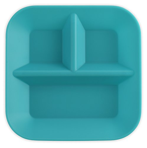 Made in the USA 100% Silicone Plates for Babies & Kids by Kiddiebites - 2-Pack BPA, BPS, PVC, phthalate, cadmium, and lead Free, FDA Approved Silicone, Divided Child's Placemat Set (Teal) by Kiddiebites (Image #1)