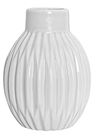 Lieblich Bloomingville Vase Geriffelt Matt Weiß Blumenvase Skandinavisch Porzellan  Höhe 11 Cm