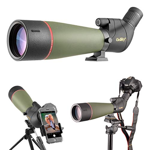 Gosky 2019 Updated Newest Spotting Scope with Tripod, Carrying Bag - BAK4 Angled Scope for Target Shooting Hunting Bird Watching Wildlife Scenery (20-60x80 Scope+Phone Mount+SLR Mount for Canon) (Best Spotting Scope For Target Shooting)