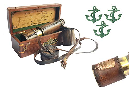 Brass Nautical Pirate Telescope with Leather Shoulder Strap, 18 inches Extended and Comes in Rosewood Box with 3 complimentary Metal Anchor plaques