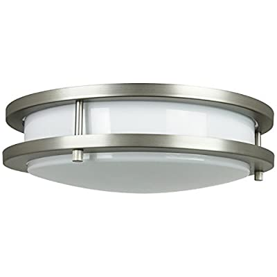 Sunlite Energy Saving Decorative Band Trim Ceiling Fixture, Polished Brass Finish with White Glass