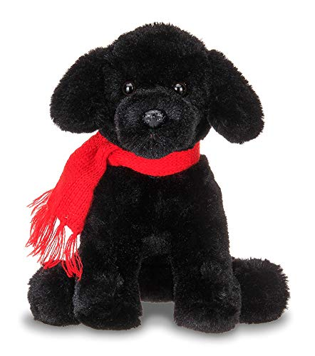 Bearington Cole Plush Stuffed Animal Black Lab Puppy Dog with Scarf, 6 inches