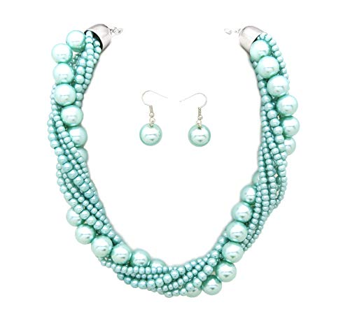 Fashion 21 Women's Twisted Multi-Strand Simulated Pearl, Acrylic Ball Statement Necklace and Earrings Set (Light Blue)