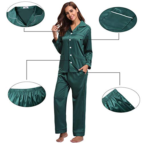 Da Seta Camicia Le Pigiama Stagioni Set Donna Notte Tutte Con In Verde Lungo Raso Maniche Per Abollria Lunghe 1REHvxw