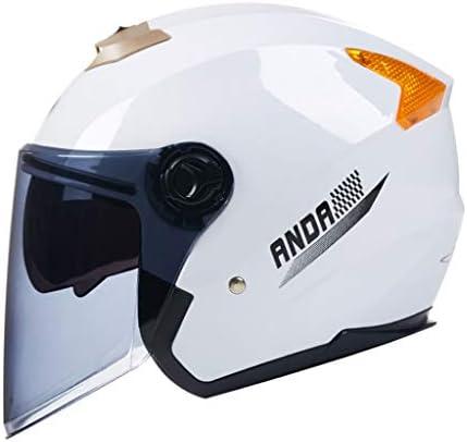 NJ ヘルメット- オートバイのヘルメットメンズと女性のドライバーダブルレンズブラック茶オープンフェイスヘルメットフルカバーアンチフォグヘルメット (色 : 白, サイズ さいず : 32x26x24cm)