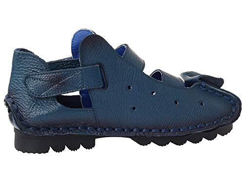 Zapatos Style Hechos Mujer Verano Mano Cuero 5 Pisos color A 2 Hhgold blue De Nuevos Genuino 6 Sandalias Uk Tamaño Oxpnqdqw