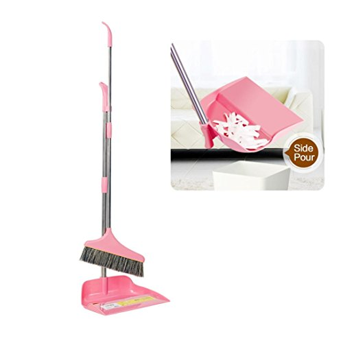 Auwer Upright Sweep Set Clean Durable Stainless Steel New Material Home Casual Environmental Recycle Dustpan Lobby With Extendable Broom Combo Shipped from the US (Pink)