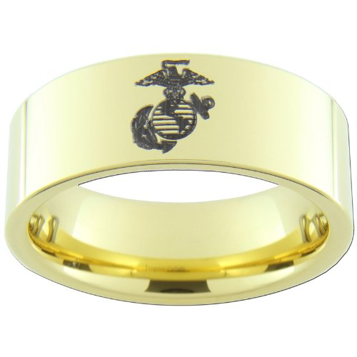 9mm Gold Tungsten Carbide USMC Marine Anchor Globe Eagle Ring Size 6 1/2