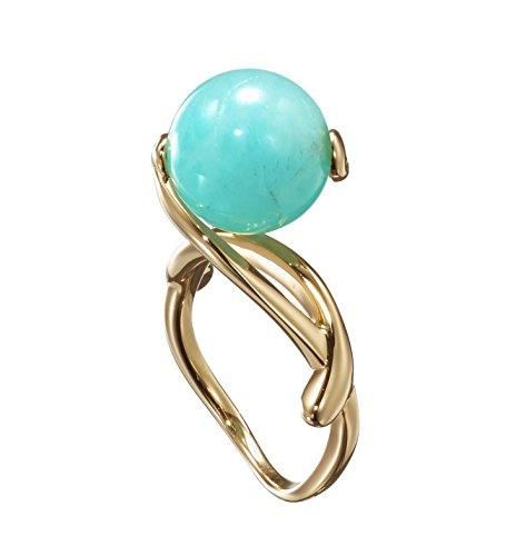Tiffany Gemstone Ring - Turquoise ring by Majade. Amazonite ring, Green turquoise engagement ring, Teal green stone wedding ring. Handmade 925 sterling silver gold plated ring. Minimalist unique gemstone engagement ring.