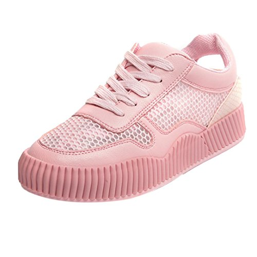Jamicy Women Shoes, Summer Fashion Hollow White Casual Lace Up Flat Sneakers Shoes Pink