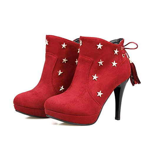 Up Booties High Women's Ankle DecoStain Stiletto Red Lace SRTZw4qE