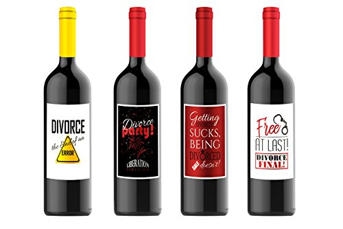 By Definition Divorce Wine Bottle Labels Party Gift for Four (4) Bottles 4.25 x 5.5 Each