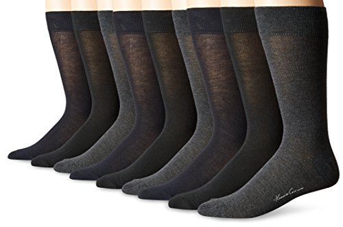 Kenneth Cole New York Men's Flat Knit Crew Socks, Black/Navy/Charcoal, 10-13/Shoe Size 6-12 (Pack of 6)