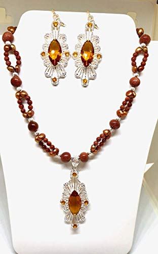 CITRINE GEMSTONES BEADED JEWELRY SET WITH PENDANT AND EARRINGS (Gold Sand Glass Pendants)