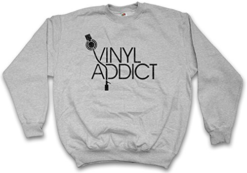 - Vinyl Addict Sweatshirt - Schallplatte Club Disco Retro Music Plattenspieler Phonograph Record Player Turntable DJ MC Record Collector Disc Mint Retro Addiction Sizes S - 3XL