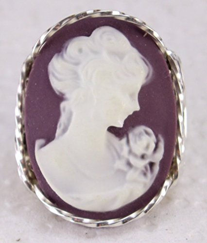 Fine Lady with rose Large Purple Cameo .925 Sterling Silver Ring or 14k Gold gf Art Jewelry HGJ