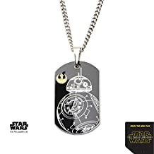 Disney Men's Stainless Steel Star Wars Episode 7 BB-8 Dog Tag Pendant with Chain