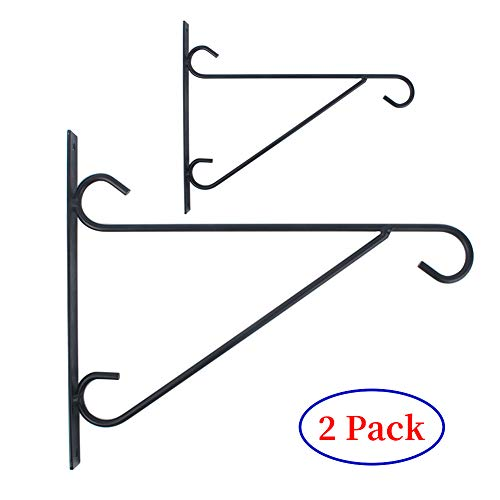 G-LEAF Metal Wall Plant Hanging Bracket Hook for Planter Flowers Pots Bird Feeder Mount Against Door Fence,2 Pack