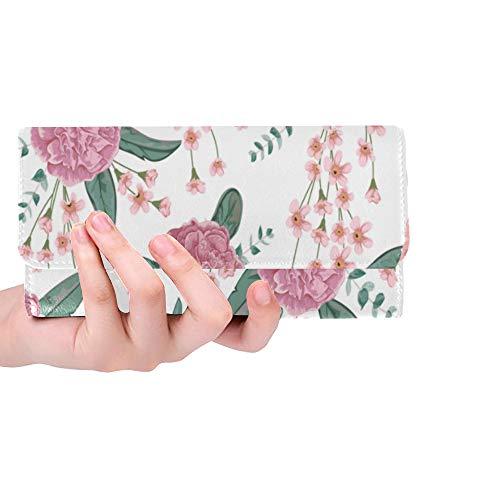 Unique Custom Pink Carnation Flowers Spiral Eucalyptus For Mother Women Trifold Wallet Long Purse Credit Card Holder Case - Travel Pink Wallets Carnation