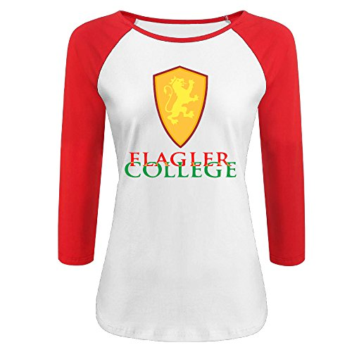 Women's Flagler College 100% Cotton 3/4 Sleeve Athletic Baseball Raglan Shirt Red US Size L
