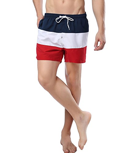 Block Board Color Shorts (SHDAS Men's Board Shorts Color Block Quick Dry Swim Trunks Stripes Navy/White/Red Size Large)