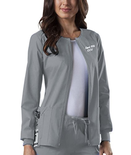 Embroidered Multi Jacket (Embroidered Cherokee Women's Workwear Scrubs Core Stretch Zip Front Warm-Up Jacket (Small, 4315, Grey))