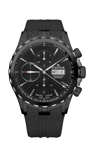 Edox-Mens-01113-357N-NIN-Grand-Ocean-Automatic-Chronograph-Black-Dial-PVD-Watch