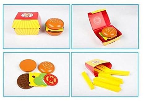Babyhugs - Comida de hamburguesa de madera para niños en una caja, juguete para comida: Amazon.es: Bebé