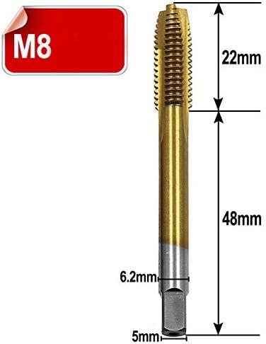 Bohrer Cutter M3 / M4 / M5 / M6 / M8 Praktisches Hochgeschwindigkeitsstahl-Gewinde Mit Spiralspitze Langlebige Bohrwerkzeuge Mit Gerader Flöte Schneidschraube Gewindebohrer-_M8
